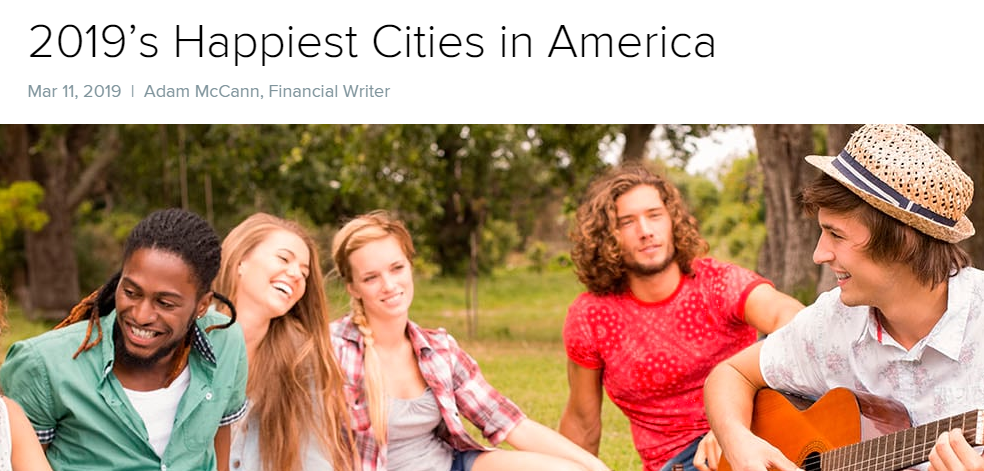 2019 Happiest Cities in America per Wallet Hub